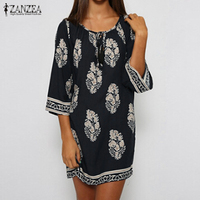 ZANZEA Women Mini Dress 2016 Summer Vintage Print Dress Casual Loose Vestidos Lace Up Sexy Beach