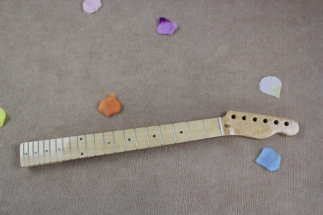 Cheap DIY semi-finished TL electric guitar neck Tiger stripes maple fingerboard Tiger stripes maple xylophone