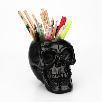 3D Skull Head Figurine Skeleton Ornament Stationery Holder Makeup Storage Container Flower Pot Jewellery Box Office Home Decor 1