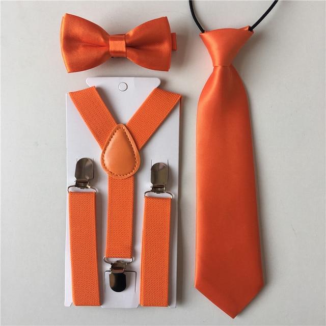 a2f24ab5e582 New Orange Colors Kids Boys Suspenders Girls Bow Tie Necktie Bowtie Set  Elastic Adjustable Party Clothing Accessories BDTZ008a10