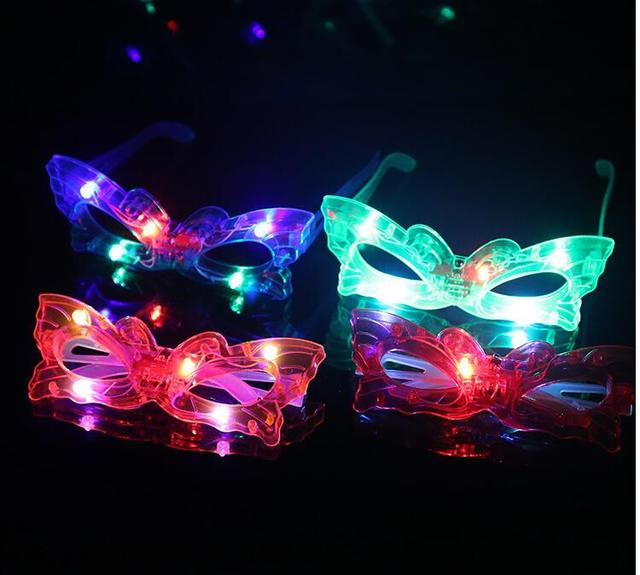 5d7502bf37 12pcs lot LED Butterfly Glasses Laser Flashing Glasses Light Party Glow  Mask Christmas Halloween Gift Glow Blinking Glasses