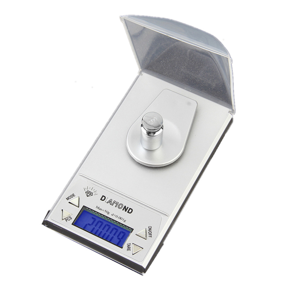 OUTAD High Precision Digital Jewelry Scale 50g x 0.001g LCD Lab Gold Herb Balance Blue Backlight Diamond Carat Electonic Weegschalen
