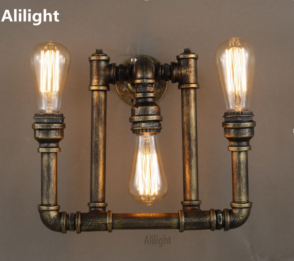 Retro loft style pipe vintage industrial wall lamp iron art wall light for home edison metal sconces indoor lighting fixtures