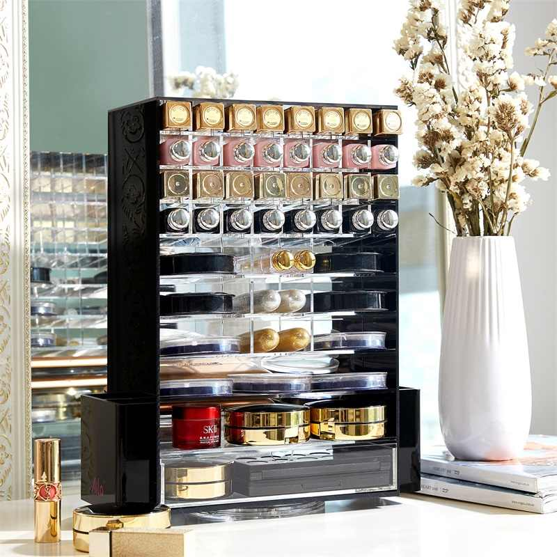 Acrylic Multifunction Makeup Organizer 360 Rotating  Cosmetic Storage Boxes with Drawer Clear Black