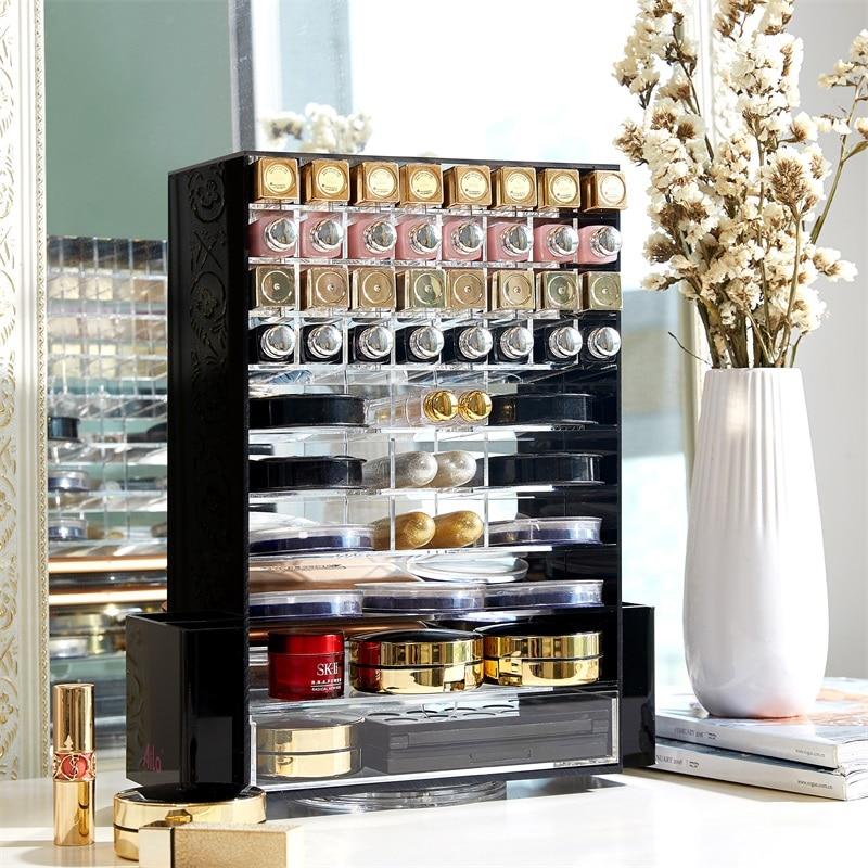 Acryl Multifunctionele Make Organizer 360 Roterende Cosmetische Opbergdozen met Lade Clear Black-in Make-up Organizers van Huis & Tuin op  Groep 1