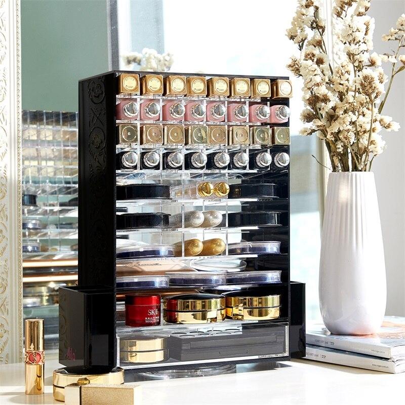 Organizador de maquillaje multifunción acrílico 360 cajas de almacenamiento de cosméticos giratorias con Cajón Negro claro-in Organizadores de maquillaje from Hogar y Mascotas    1
