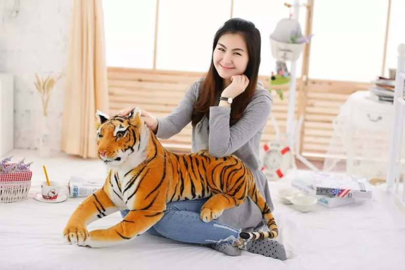 stuffed toy yellow prone tiger plush toy about 75cm simulation tiger birthday gift b0088 stuffed animal 145cm plush tiger toy about 57 inch simulation tiger doll great gift w014