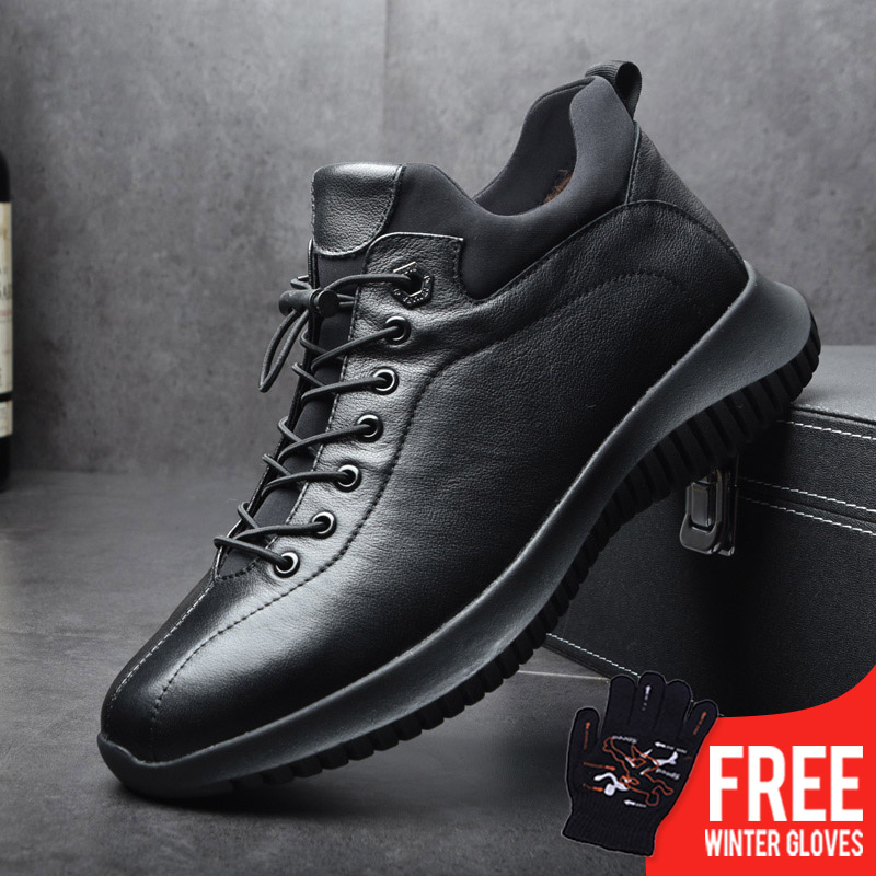 OSCO2019 Brand New Men Shoes Winter Warm Shoes Genuine Leather Carved Male Lace-UP Zipper Shoes High Toe Casual Fashion Sneakers