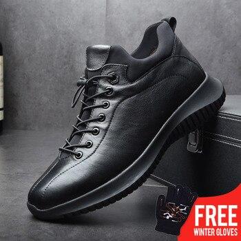 OSCO2018 Marke Neue Männer Schuhe Winter Warme Schuhe Aus Echtem Leder Geschnitzt Männlich Lace-UP Zipper Schuhe Hohe Kappe Lässig mode Turnschuhe