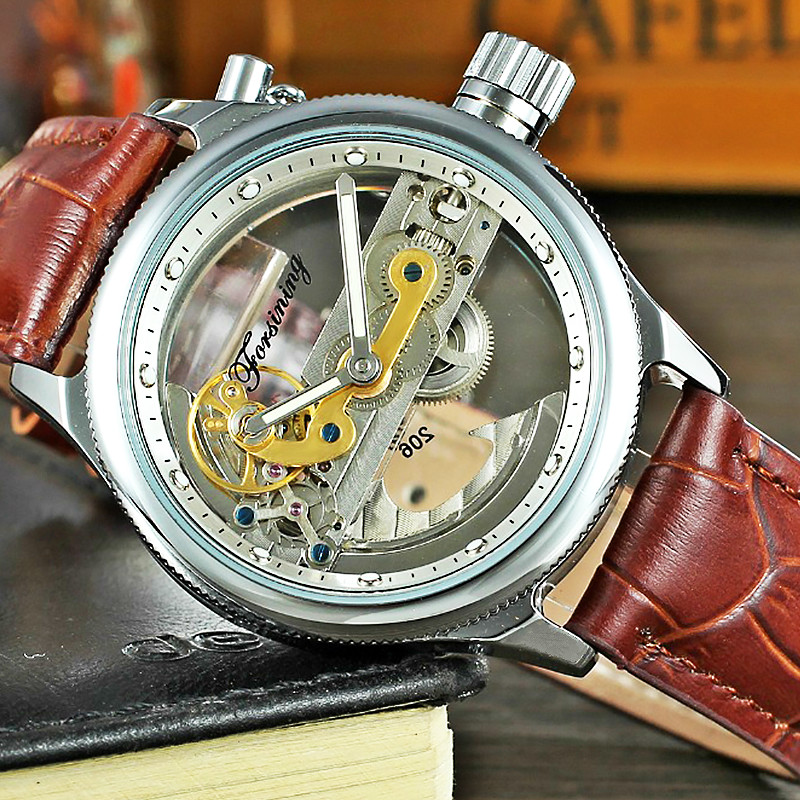FORSINING Colouring Hollow Skeleton Automatic Mechanical Watches Mens Top Brand Luxury Genuine Leather Winner Wrist Watch Clocks fashion hk brand top grade luxury automatic clocks high quality genuine leather mens hollow watches relojes hombre marca famosa
