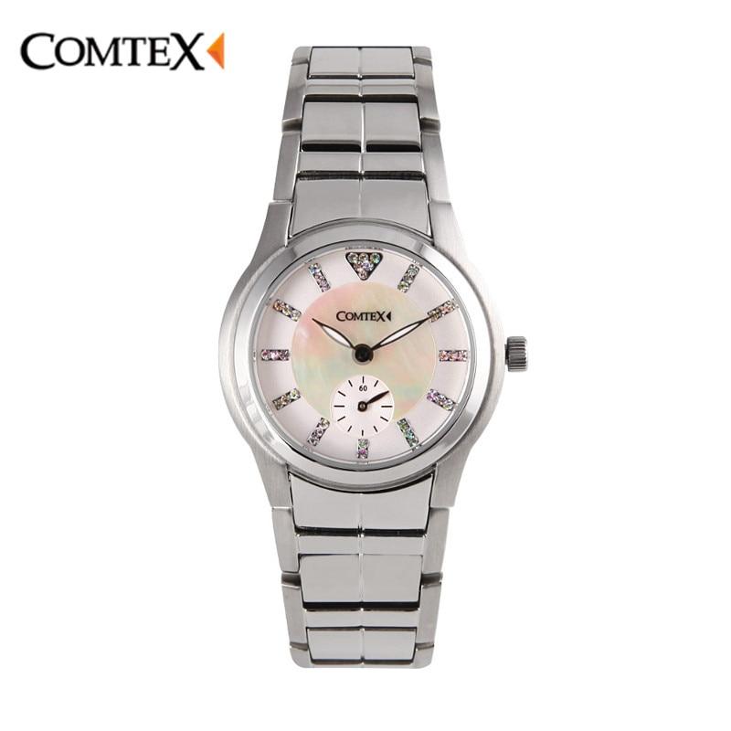 Comtex New Woman Watch Luxury Crystal marks Silver Lady Wristwatch Sapphire glass Quartz Simple Dress Watches Girls gift Clock