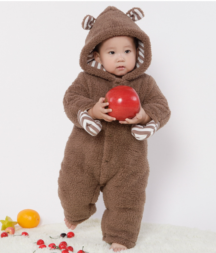 ca6cb31f4334 0 2 Y Thick Baby Kids Jumpsuits Cute Baby Winter Hand Cover Bear ...