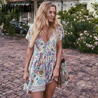 Boho Vintage Birds Floral Print Mini Dress Women 2017 New Fashion V Neck Short Sleeve Summer