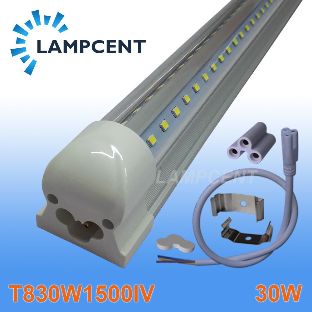 T8 V shaped Integrated Tube 30W 5FT 270 Degree With Parts 110-277V Clear Cover 4 pack free shipping t5 integrated led tube lights 5ft 150cm 24w lamp fixture with accessory milky clear cover 85 277v