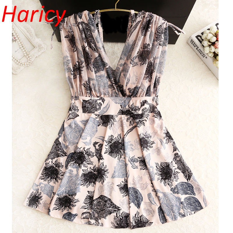 2018 New Printed One Piece Swimsuit Sexy Push Up Swimwear Women Dress Bathing Suit Plus Size Deep V Swim Suit For Women women cover up swimwear beach dress skirt one piece swimsuit printed tunic bathing suit 2017 new arrival large size