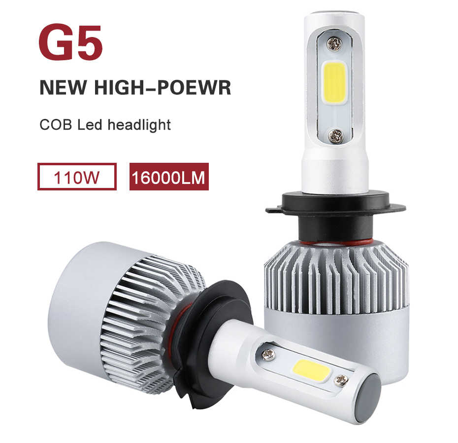 G5 LED H4 H7 H11 COB Led Car Headlight Bulbs Kit 110W 16000LM H1 H13 9005 9006 9007 6500K 12V LED Automobile Headlamp Fog Lights