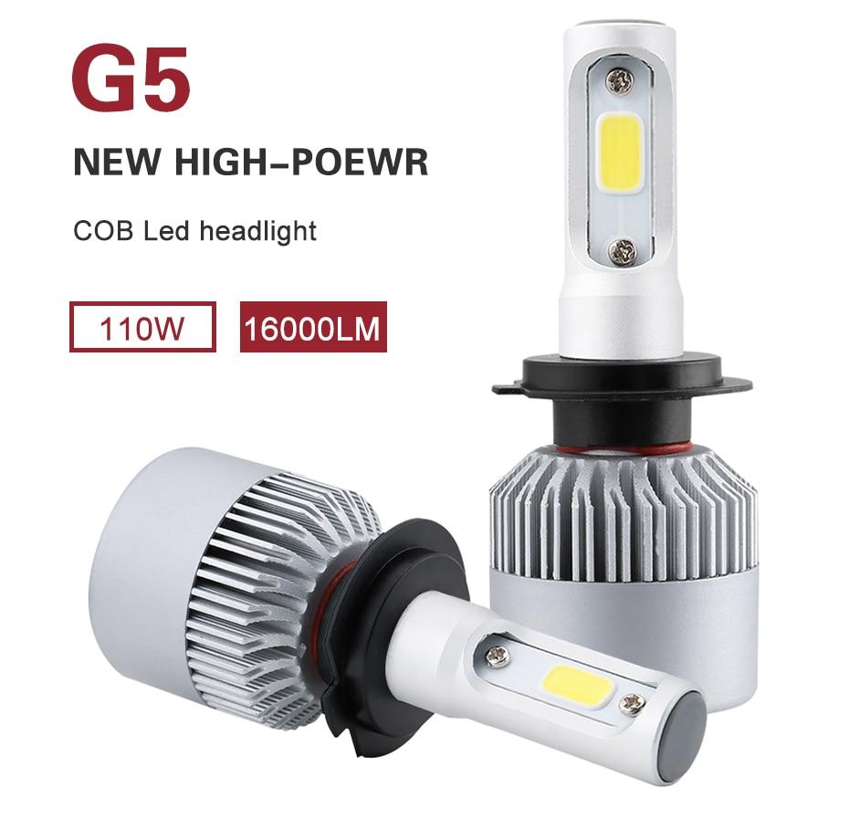 G5 LED H4 H7 H11 COB Led Car Headlight Bulbs Kit 110W 16000LM H1 H13 9005 9006 9007 6500K 12V LED Automobile Headlamp Fog Lights 1pair dc9 36v h1 cob 160w 8000lm led headlight kit lights beam bulbs 6000k external lights