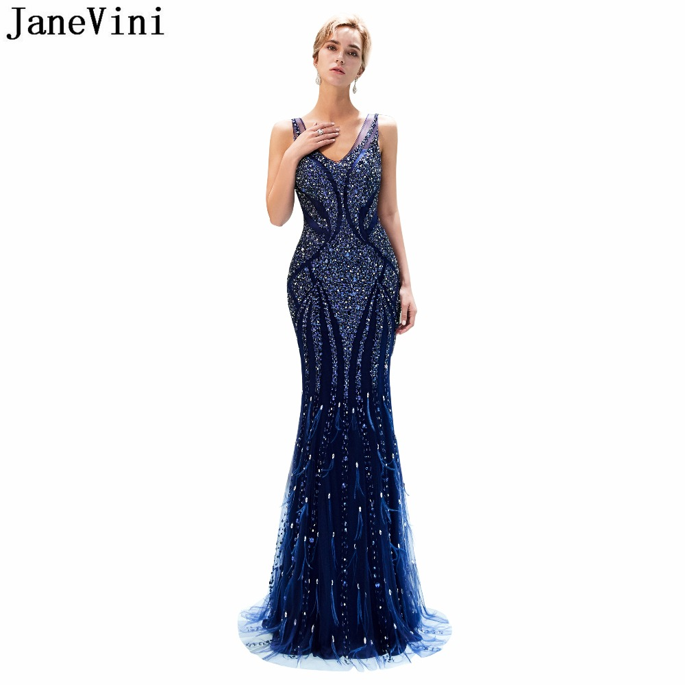 JaneVini 2018 Luxurious Beaded Crystal Long Bridesmaid Dresses Sexy Deep V Neck Backless Floor Length Mermaid Formal Party Gowns