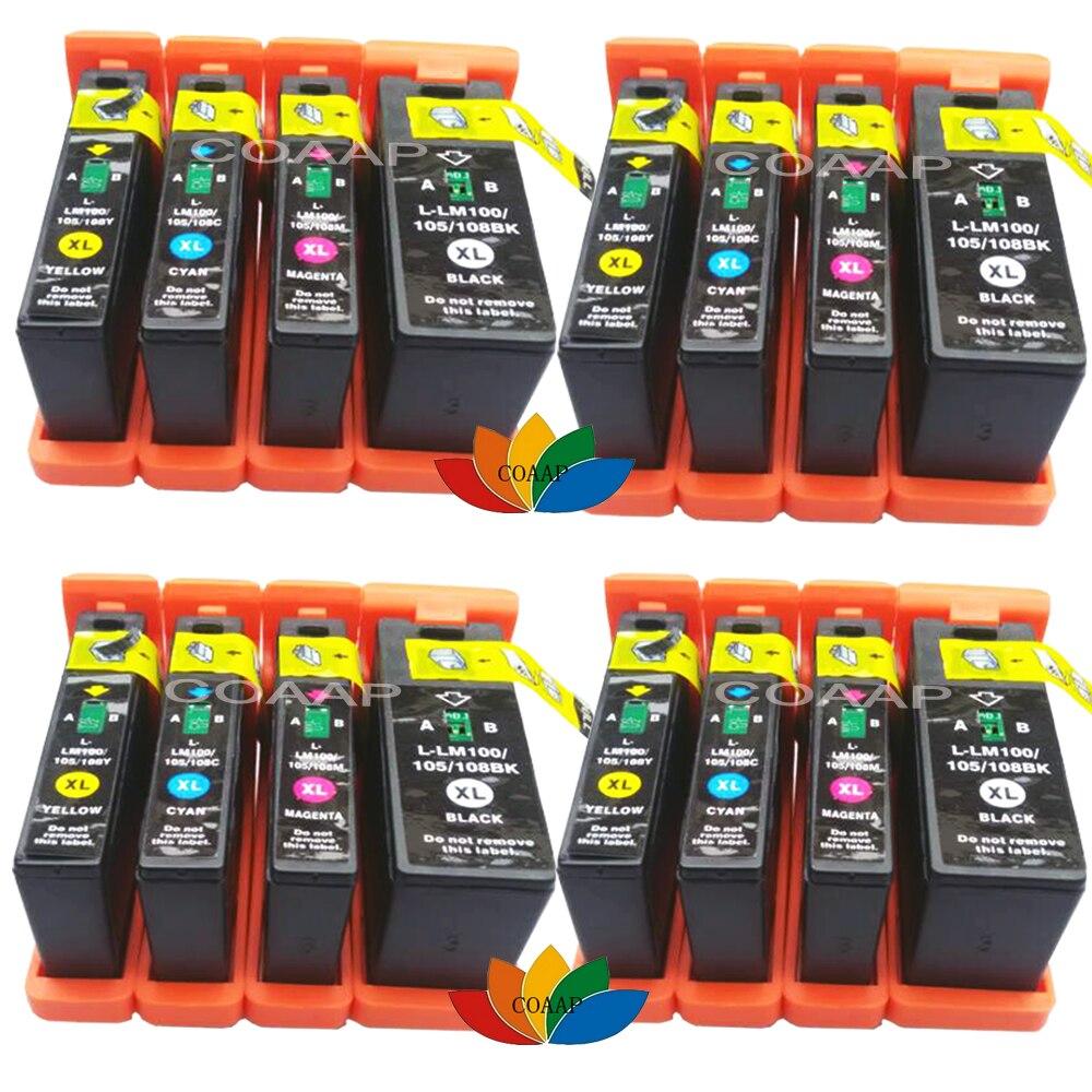 Cartucho de tinta 16pk cor bk/c/m/y para compatível lexmark 100xl100 xl pináculo pro901 interpretar s402 s405