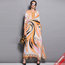 High Quality Designer Runway Maxi Dress 2018 New Autumn Women's Batwing Sleeve Fashion Printed Casual Loose Long Dress Free DHL(China)