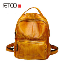 AETOO Backpack female retro Korean fashion wild shoulder bag large capacity leather college wind small backpack