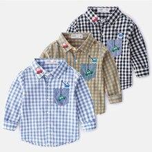 Детская одежда рубашки для мальчиков Весенняя Повседневная хлопковая рубашка с длинными рукавами для мальчиков детская одежда клетчатые наряды рубашка для маленьких мальчиков