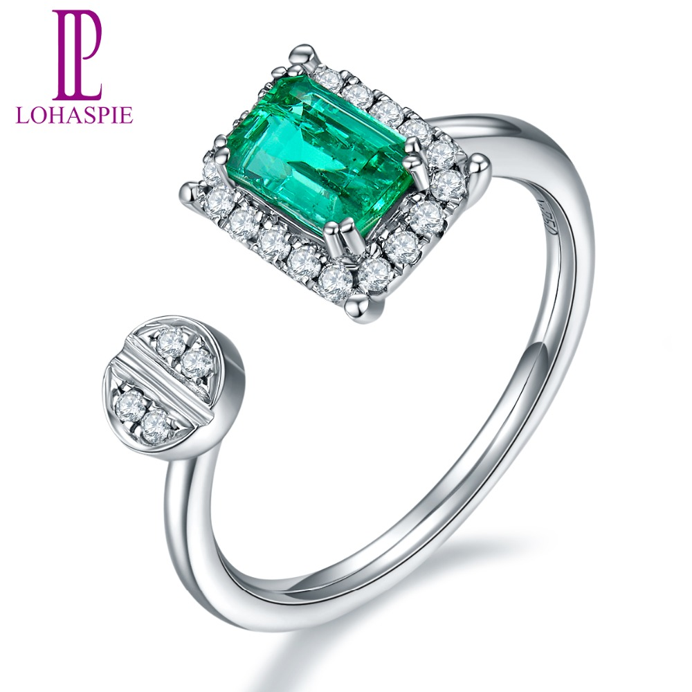 Lohaspie Natural Gemstone Emerald & Diamond Solid 18k White Gold Clou Wedding Rings For Women Diamond-Jewelry solid 18k yellow gold green emerald wedding diamonds rings good quality genuine gemstone fine jewelry for women promised gift