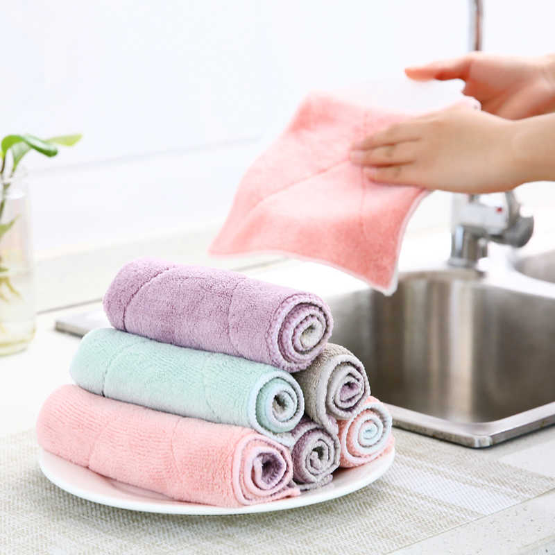 Cleaning Cloths Kitchen dish cloth thick absorbent water towel cleaning cloth can not wipe the tablecloth household non-oil rag