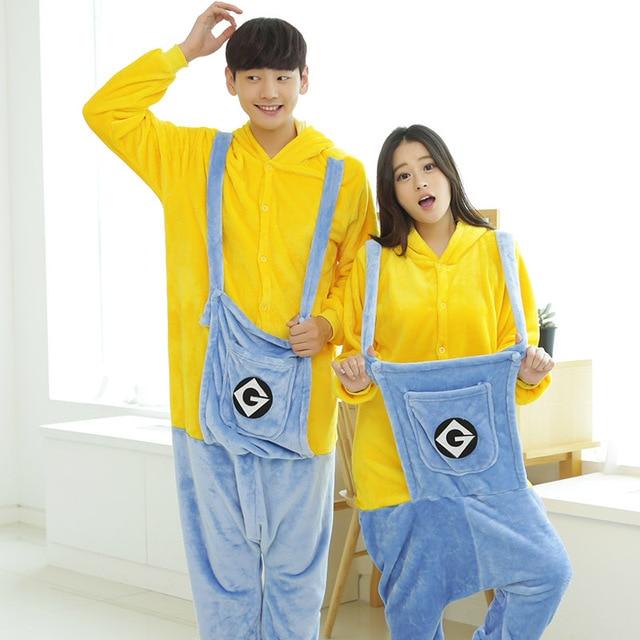 2017 New Design Unisex Pajama Onesies For Adults Minions Pajamas Sleepwear Hoodie Pyjamas Onesie Minion Cosplay Costume