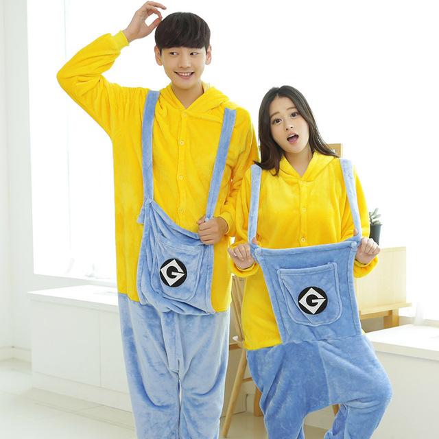 2017 Nuevo Diseño Unisex Pijama Onesies Para Adultos Minion Minions Pijamas ropa de Dormir Con Capucha Pijamas Onesie Cosplay