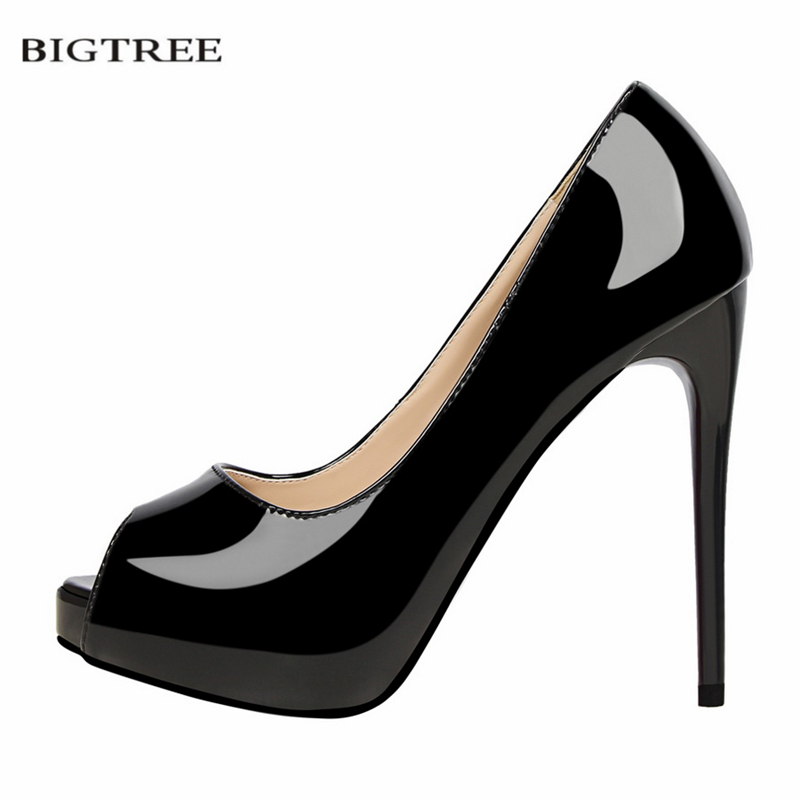 BIGTREE Women Summer Pumps Fashion Patent Leather Slim Sexy High-heeled Shoes Thin Heeled Open Toe Shallow Sandals G1675-1 summer causal open toe buckle high heeled thick waterproof platform sandals for women