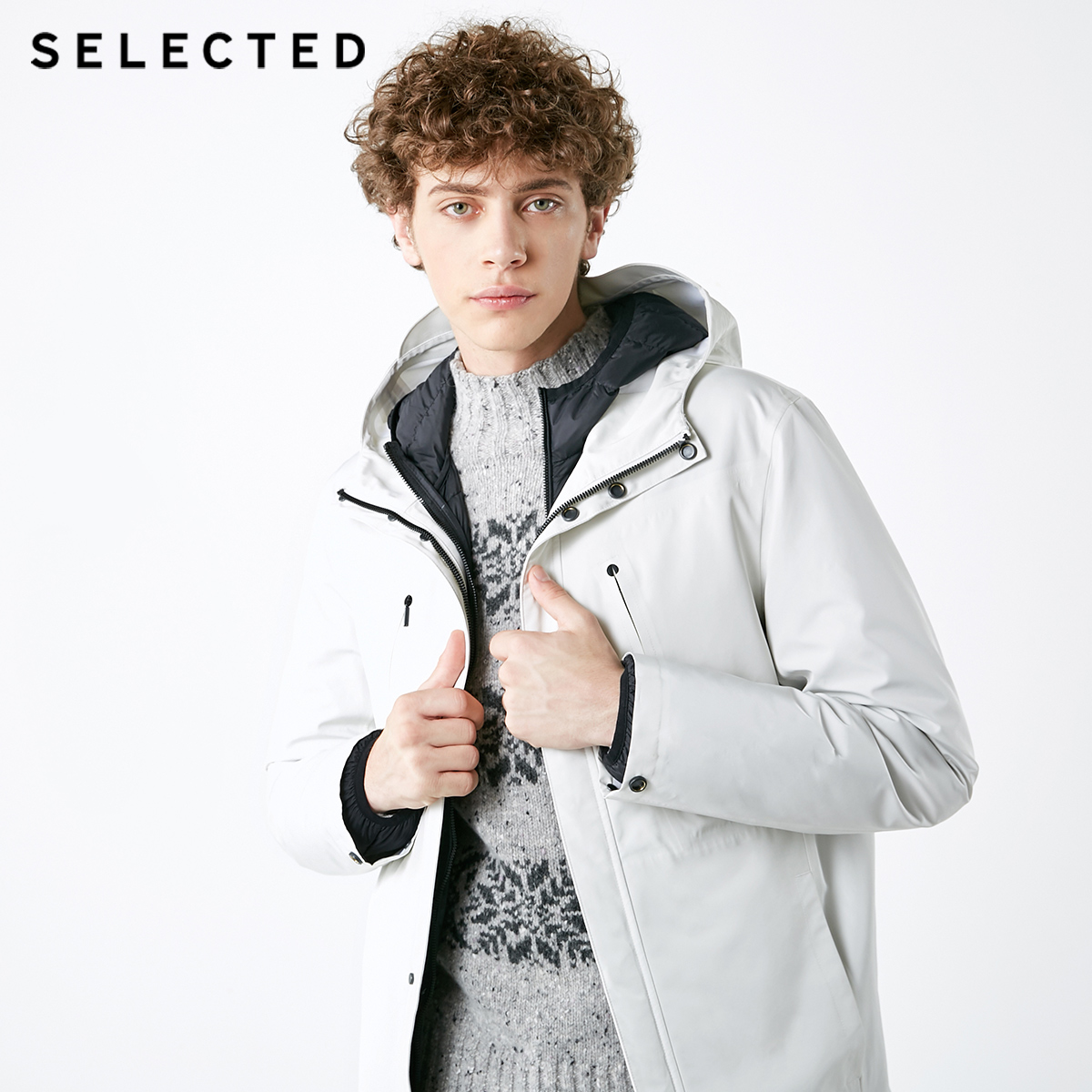 SELECTED Men's Down Jacket Two-sided Wear Male Removable Inner Gallbladder Cap Short Down Coat Suit Warm Clothes S | 418412536