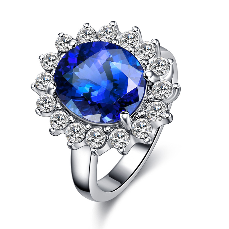Classic Princess Diana William Kate Middletons Luxury Blue Engagement Rings For Women Wedding Band Bridal Gifts Jewelry