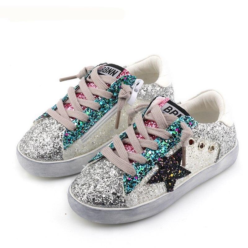 KIDS 2018 Toddler Baby Glittler Shoe Girl Star White Sneaker Boy Sport Shoe Kid Child Causal Trainer Sequin Flat 3 color