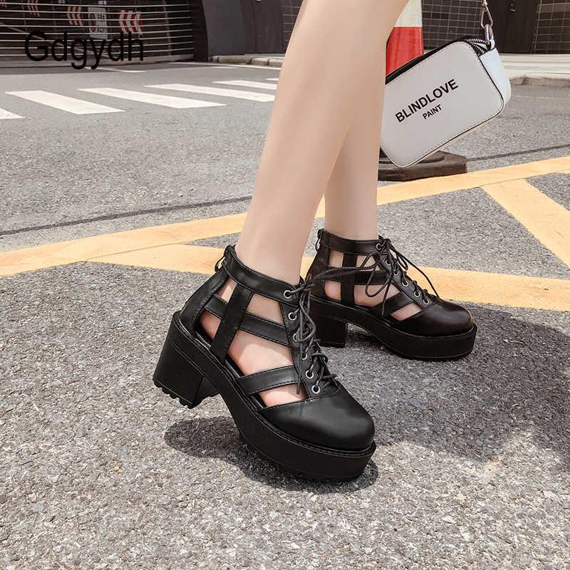 Gdgydh รองเท้าส้นสูงรองเท้าแตะผู้หญิงรองเท้าแพลตฟอร์มหญิงห่วงรองเท้าสบายๆสบายๆฤดูร้อนสีดำใหม่ Drop Shipping