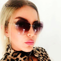 Coodaysuft Oversized Clear Brand Designer Gradient Sunglasses Transparent Multicolor Rimless Women Lady Sun Glasses Dropshipping