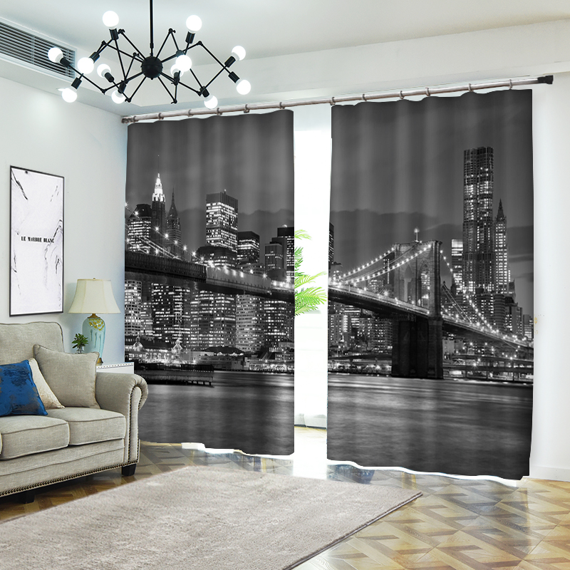 Width 500cm and Height 250cm Night of New York Brooklyn Bridge 3D Curtains Bedding Room Living