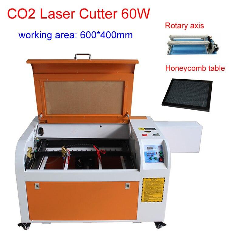 60W CO2 Laser Gravur Maschine 3D laser druck maschine mit drehachse und Waben Tabelle High Speed Arbeit Größe 600*400mm