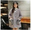 2016 Winter New Korean Style Fashion Women Rabbit Fur Coat  long V-neck Thick Warm  Faux Fur Coats Jacket Hot