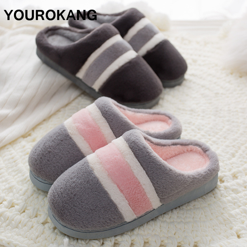 Winter Ladies Home Slippers Plus Size Flock Women Plush Slipper Striped Antiskid Lovers Couple Shoes Indoor Bedroom Footwear in Slippers from Shoes
