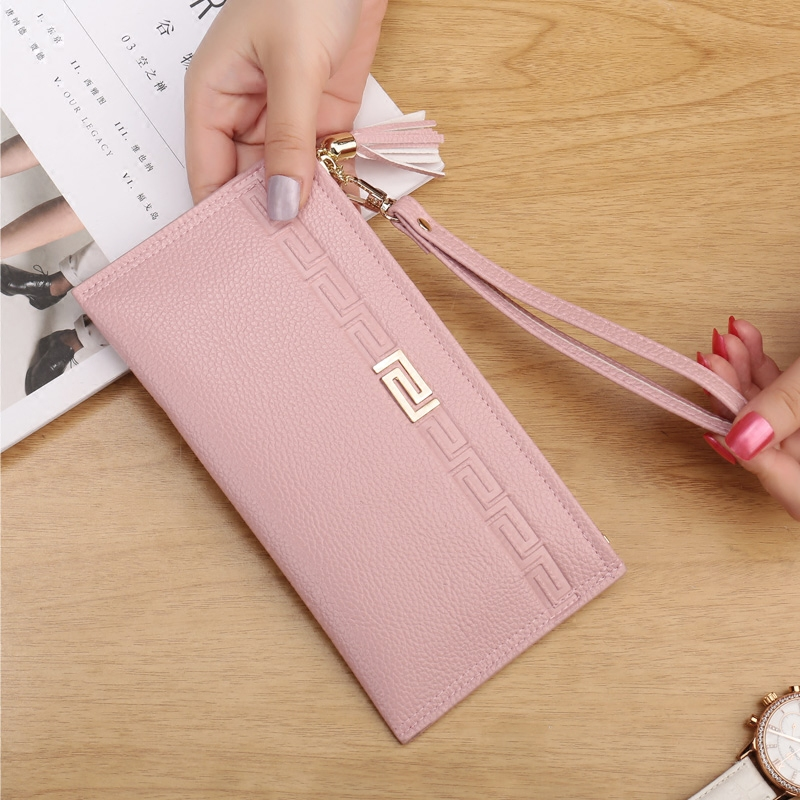 High Capacity Fashion Women Wallets Long  PU Leather Wallet Female  Zipper Clutch  Ladies Wristlet Ultra thin Mobile phone bag bow tie cuff contrast patch pocket detail shirt