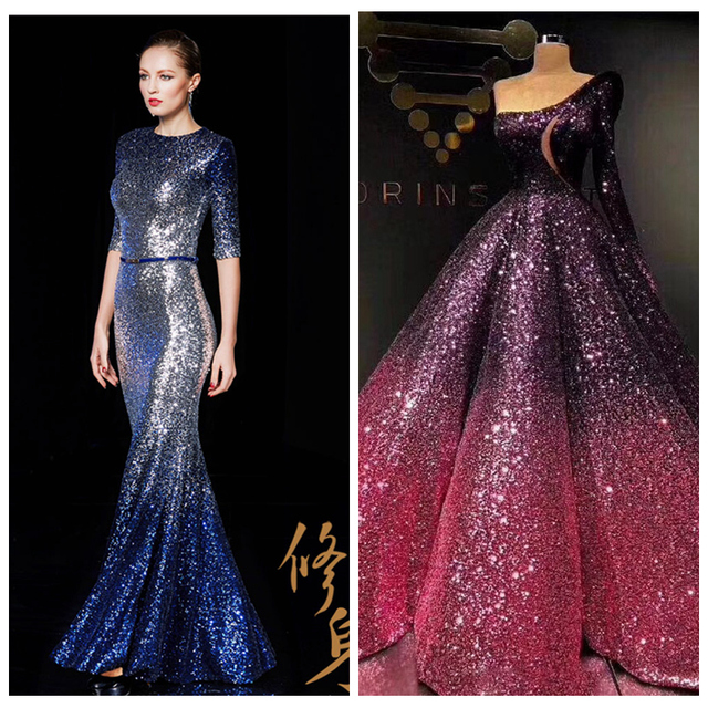 c72c26bb45 US $58.75 6% OFF|LASUI 13 colors 5 yards=1 lot 3MM encryption brilliant  Gradient sequins mesh lace fabric Evening dress Party dress fabric W0041-in  ...