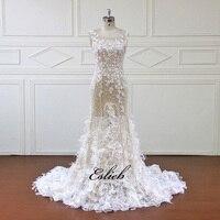 Eslieb High end Custom made A Line Wedding Dresses 2018 Design Lace Appliques Pearls Bridal Gowns Vestido De Novias XF16146