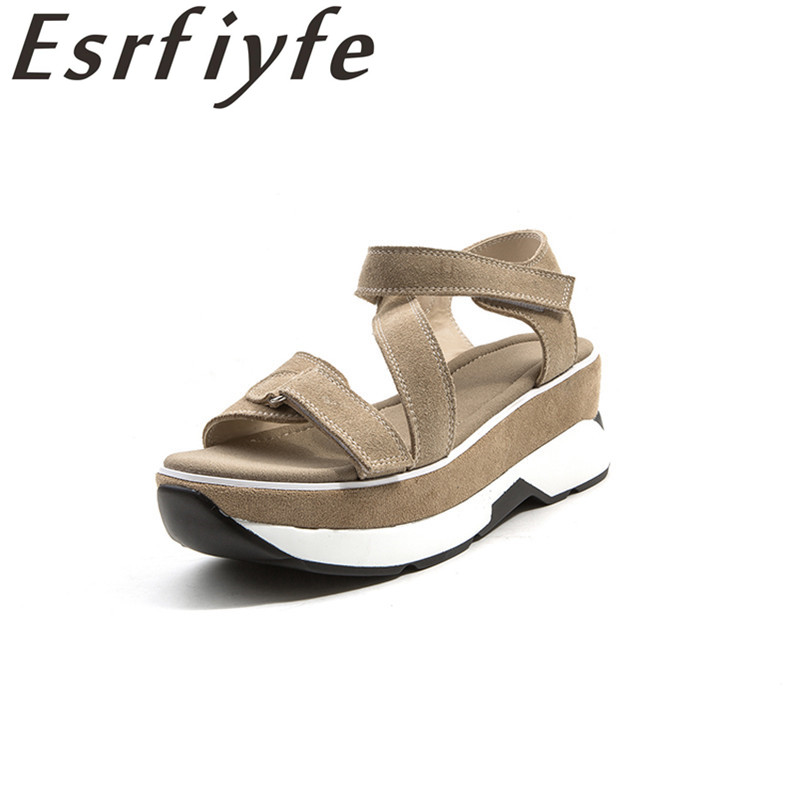 ESRFIYFE 2018 الصيف أزياء المرأة صنادل جلد - أحذية المرأة