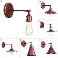 Nordic Estilo Loft Ferrugem Ferro Arandela Edison Industrial CONDUZIU a Luz Da Parede Do Vintage Simples Ajustar lâmpada de Parede de Cabeceira Lâmpada de Iluminação Para Casa|Luminárias de parede|   -