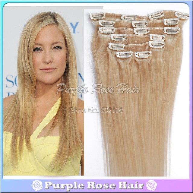 60 Platinum Blonde Brazilian Clip In Hair Extensions Cheap Straight