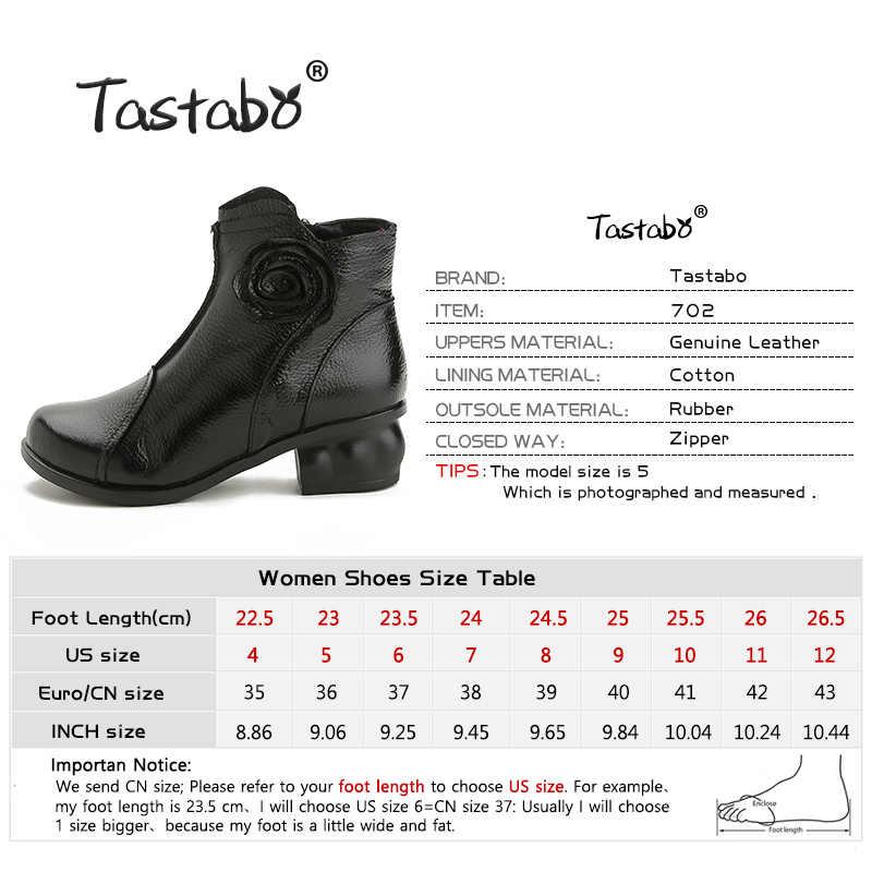 Tastabo Bayanlar siyah ayakkabı Kadın Kare Topuk Retro Çizmeler El Yapımı Çizmeler Kadın Moda Çiçek Yumuşak Hakiki deri ayakkabı Daireler