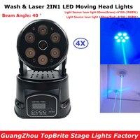 4 unids/lote Mini LED cabeza móvil luz láser 6X8 W RGBW Quad Color LED luces de lavado con 19/14 chs para etapa profesional Dj luces