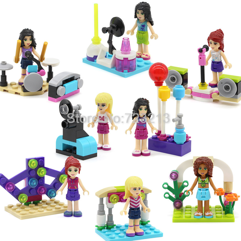 8Pcslot Girls Band Doll Concert Figures Musical Show -2487