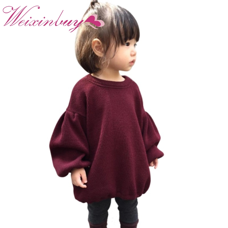 2017 Winter Baby Mädchen Kleidung Mode Laterne Ärmel Pullover Tops Herbst Outfits Solide Wein Rot Warme Baby Pullover